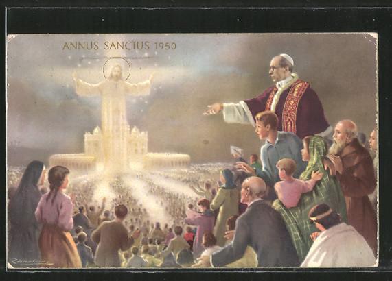 Künstler-AK A. Zandrino: Annus Sanctus 1950, Pabst, Christus und Gläubige