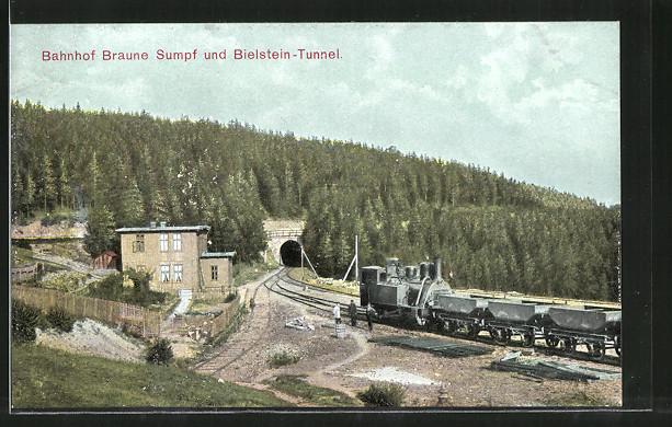 AK Blankenburg, Bahnhof Braune Sumpf & Bielstein-Tunnel