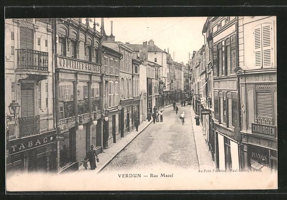 AK Verdun, Rue Mazel, Strassenpartie im Zentrum