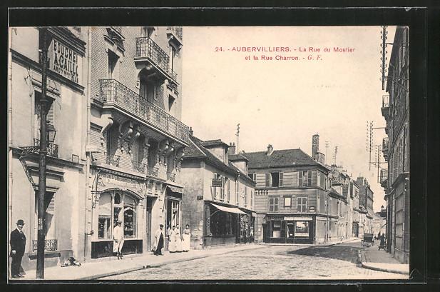AK Aubervilliers, La Rue du Moutier et la Rue Charron