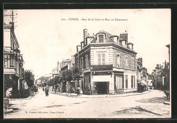 AK Cosne, Rue de la Gare et Rue du Commerce, Strassenpartie mit Geschäft