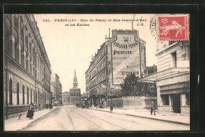 AK Paris, Rue de Patay et Rue Jeanne d'Arc et les Ecoles
