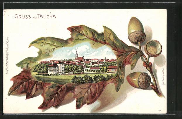 Passepartout-Lithographie Taucha, Ortsansicht im Eichenblatt