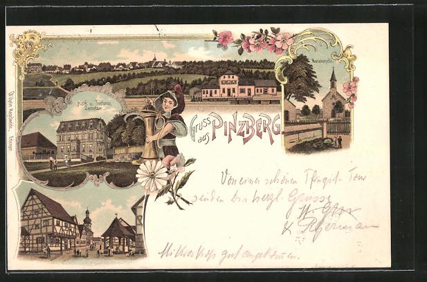 Lithographie Pinzberg, Gesamtansicht, Mariakapelle, Hotel & Terrasse Zametzer