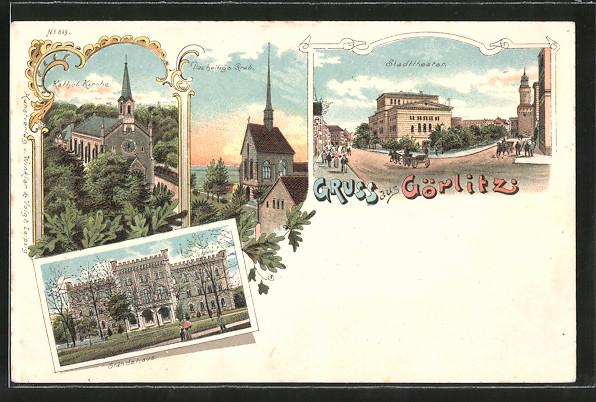 Lithographie Görlitz, Stadttheater, Das heilige Grab, Ständehaus