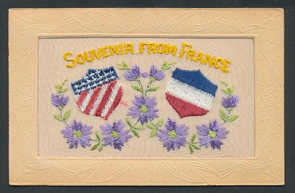 Seidenstick-AK Propaganda Entente, Flaggen von Frankreich und den USA