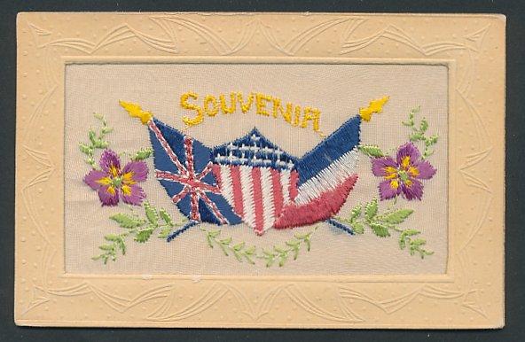 Seidenstick-AK Propaganda Entente, Flaggen von Frankreich, Grossbritannien und den USA