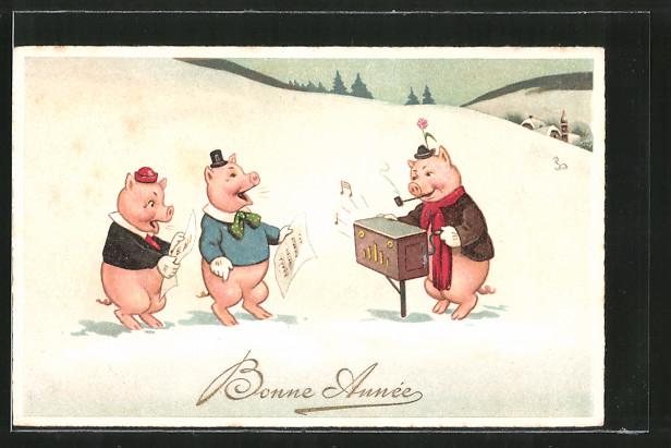 AK Bonne Année, Schwein mit Leierkasten, Neujahrsgruss