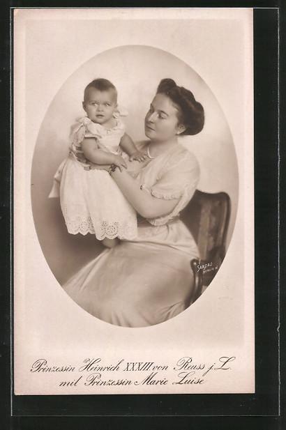 AK Prinzessin Heinrich XXXIII. von Reuss j. L. mit Prinzessin Marie Luise