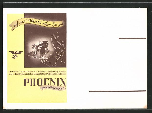 AK Auf einer Phoenix nähen Sie gut, Reklame für Nähmaschine