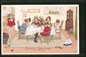Künstler-AK Lia Döring: Glückwunsch zum Geburtstage, Mädchen bei Tee und Kuchen