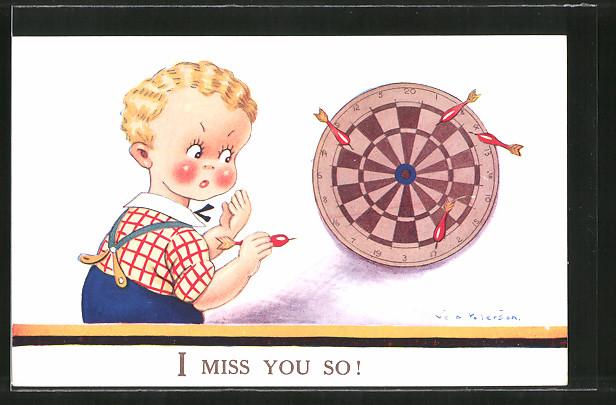 Künstler-AK Vera Paterson: I miss you so!, Kleiner Dartspieler