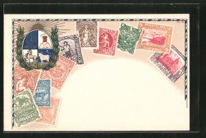 Lithographie Briefmarken aus Uruguay, Wappen