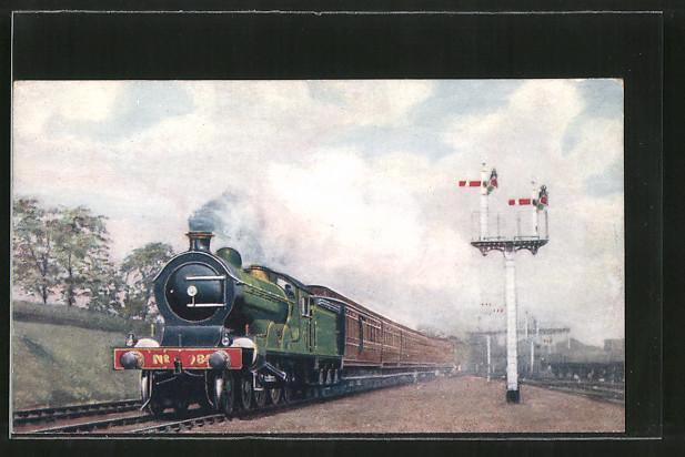 AK Englische Eisenbahn verlässt einen Bahnhof