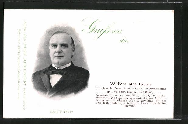 AK Porträt William Mac Kinley, Präsident der USA ab 1896
