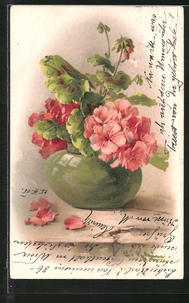 Künstler-AK Catharina Klein: Rote Blumen in einer grünen Vase