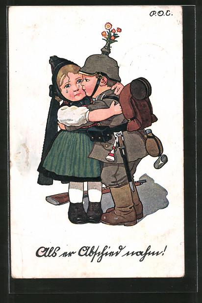 Künstler-AK P. O. Engelhard (P.O.E.): Soldat in Uniform verabschiedet sich von seinem Mädel