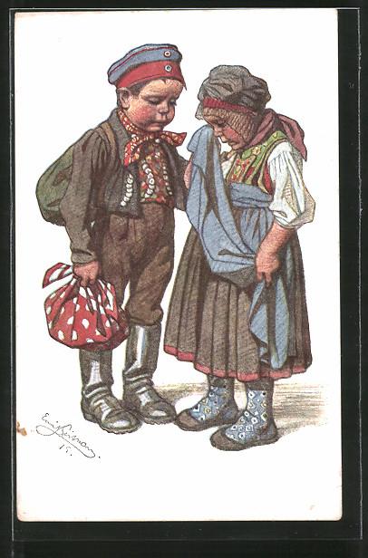 Künstler-AK Emil Beithan: Kleines Paar hat Sorgen
