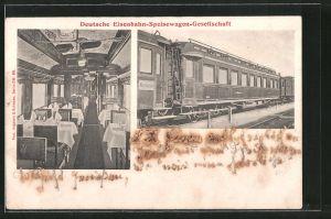 AK Deutsche Eisenbahn-Speisewagen-Gesellschaft, Blick in einen Speisewagen