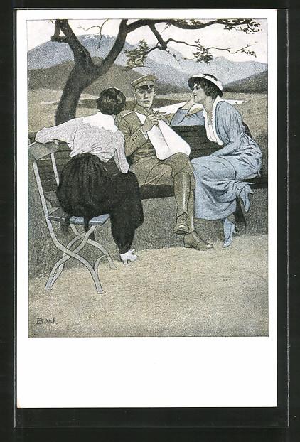 Künstler-AK Brynolf Wennerberg: Verletzter Soldat auf einer Bank mit zwei Frauen
