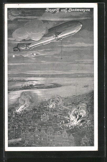 Künstler-AK Antwerpen, Zeppelin beim Angriff auf die Stadt
