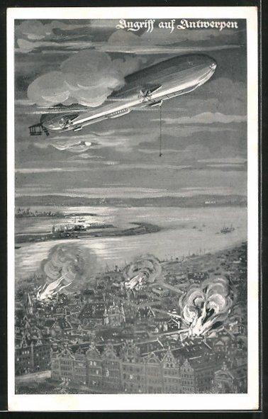 Künstler-AK Zeppelin beim Angriff auf Antwerpen