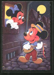 AK Mickey Maus spielt ein Ständchen für Minnie