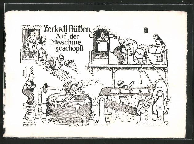 Künstler-AK Zerkall Bütten, Papierherstellung, Papier auf der Maschine geschöpft