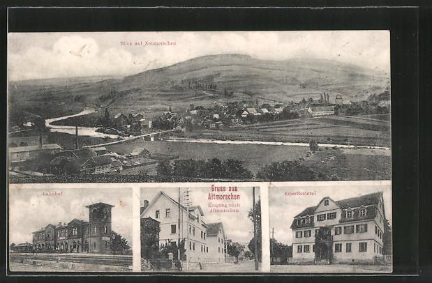 AK Altmorschen, Bahnhof, Oberförsterei, Neumorschen und Altmorschen