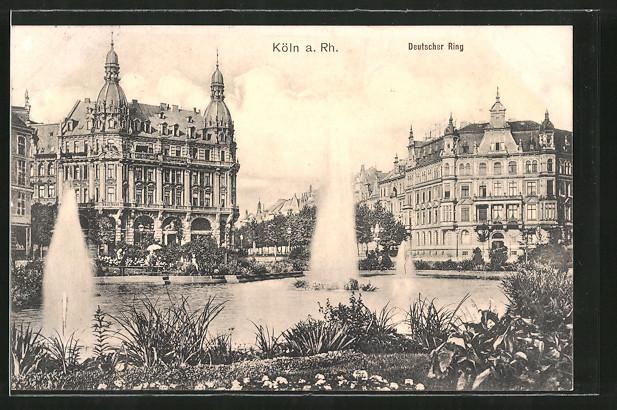 AK Köln-Neustadt, Deutscher Ring, Teich mit Fontänen