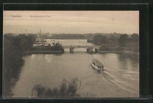 AK Hamburg-Winterhude, Dampfer vor der Sierichstrassenbrücke