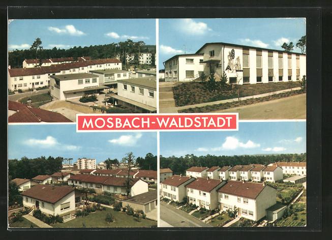 AK Mosbach-Waldstadt, Neubauten und Strassenpartien