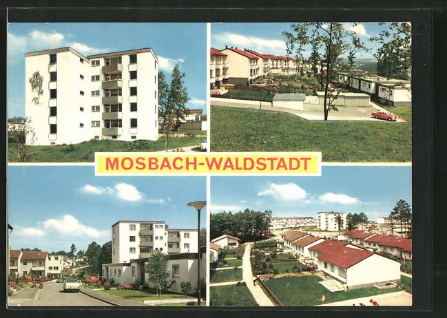 AK Mosbach-Waldstadt, Strassenpartie mit Neubauten