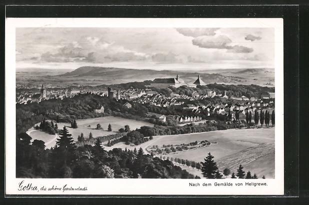 AK Gotha, Panorama nach dem Gemälde von Hellgrewe