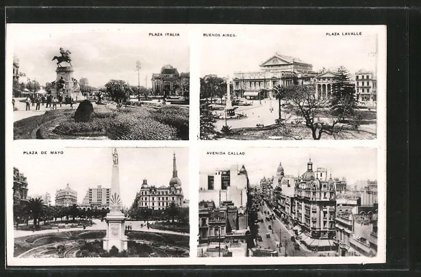 AK Buenos Aires, Plaza Italia, Plaza de Mayo, Avenida Callao, Strassenbahn