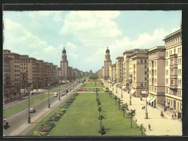 AK Berlin, Stalinallee, Blick nach Westen