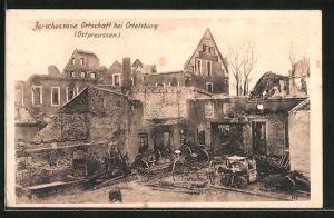 AK Ortelsburg, Zerschossene Häuser