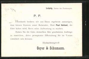 AK Leipzig, Firma Geyer & Schumann, Ankündigung eines Vertreters