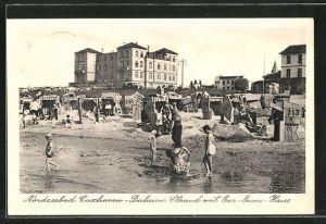 AK Cuxhaven-Duhnen, Strand mit Jugendherberge Ove-Ovens-Haus