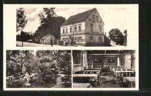 AK Zwenkau, Gasthaus Harthschlösschen mit Speisesaal und Gartenlokal
