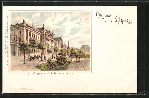 Lithographie Leipzig, Augusteum, Universität, Pferdekutsche