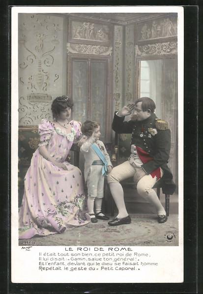 AK Napoleon, Le Roi de Rome, Kind salutiert Napoleon