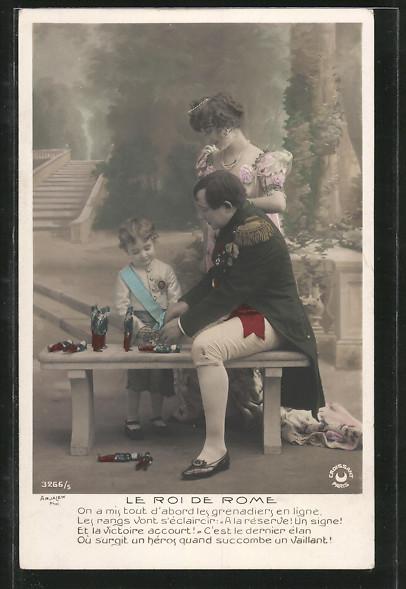 AK Napoleon, Le Roi de Rome, Napoleon spielt mit einem Kind