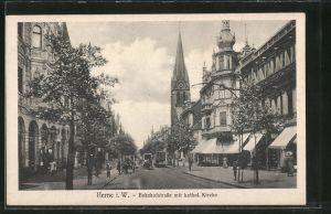 AK Herne, Bahnhofstrasse mit katholischer Kirche