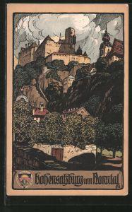 Künstler-AK Salzburg, Festung Hohensalzburg vom Nonntal aus gesehen
