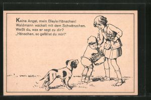 AK Reklame für Bleyle's Bekleidung, kleiner Junge hat Angst vor einem Hund