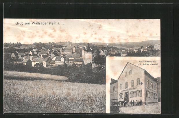 AK Wallrabenstein, Gasthaus v. J. Jacobi, Gesamtansicht