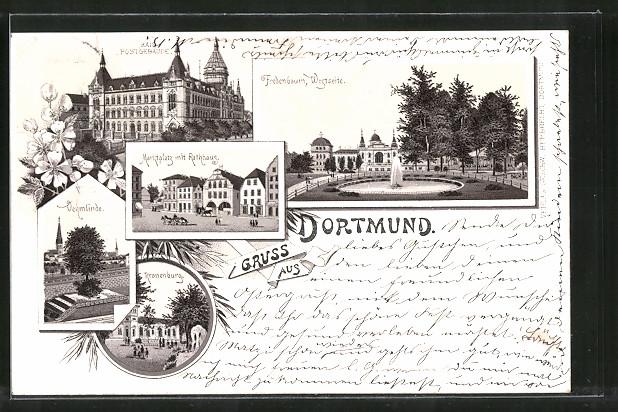 Lithographie Dortmund, Marktplatz mit Rathaus, Kaiserl. Postgebäude, Kronenburg