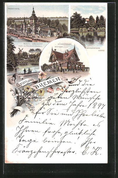 Lithographie Bremen, Parkhaus, Bürgerpark, Meierei