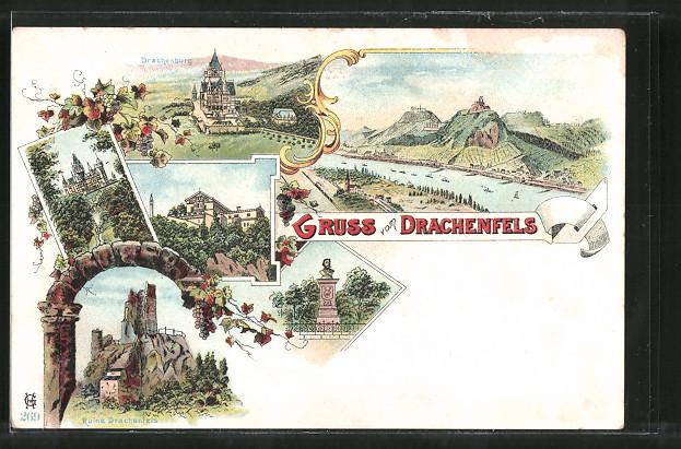 Lithographie Königswinter, Drachenburg, Ruine Drachenfels und Rheinpartie am Drachenfels